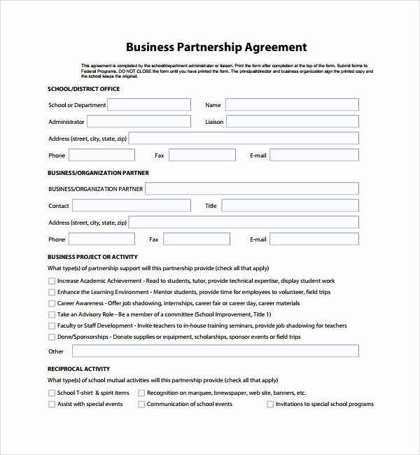 Simple Partnership Agreement Template Free Best Of 8 Business Partner Agreements