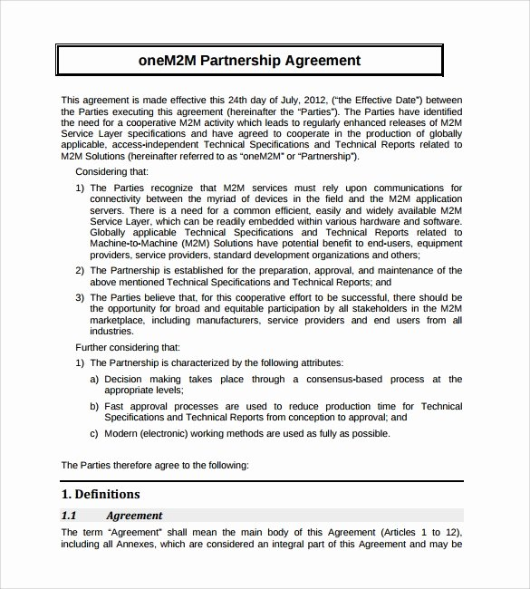 Simple Partnership Agreement Template Free Elegant 16 Partnership Agreement Templates