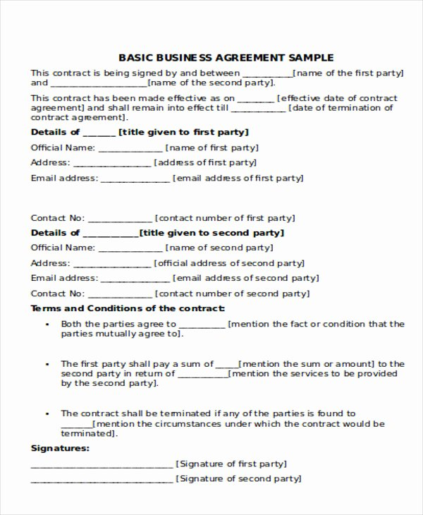 Simple Partnership Agreement Template Free Lovely 10 Business Agreement Samples Free Samples Examples