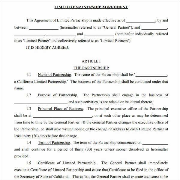 Simple Partnership Agreement Template Free Lovely Basic Partnership Agreement Template 7 Limited Partnership