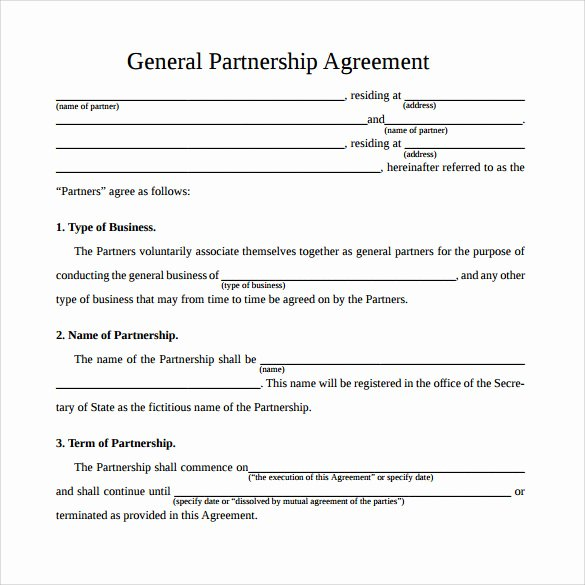 Simple Partnership Agreement Template Free Luxury 12 Sample General Partnership Agreement Templates