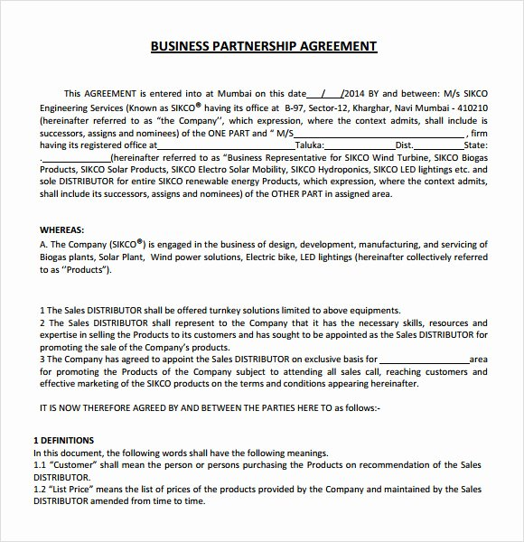 Simple Partnership Agreement Template Free New Business Partnership Agreement – 8 Free Samples
