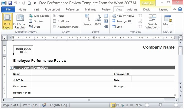 Simple Performance Review Template Beautiful Free Performance Review Template form for Word 2007