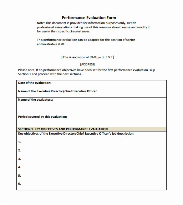 Simple Performance Review Template Best Of Performance Evaluation form 9 Free Samples Examples