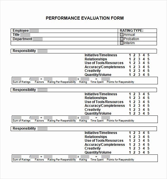 Simple Performance Review Template Best Of Sample Performance Evaluation form 7 Documents In Pdf Word