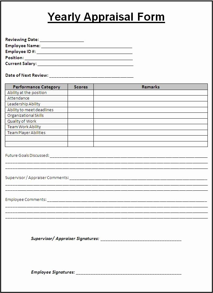Simple Performance Review Template Fresh 9 Yearly Appraisal form Templates