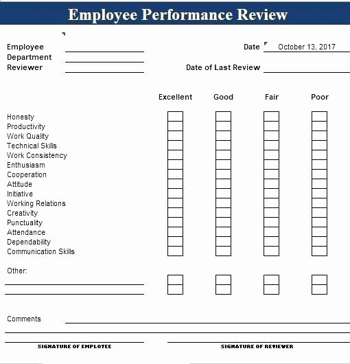 Simple Performance Review Template Fresh Free Employee Performance Review Template Excel form