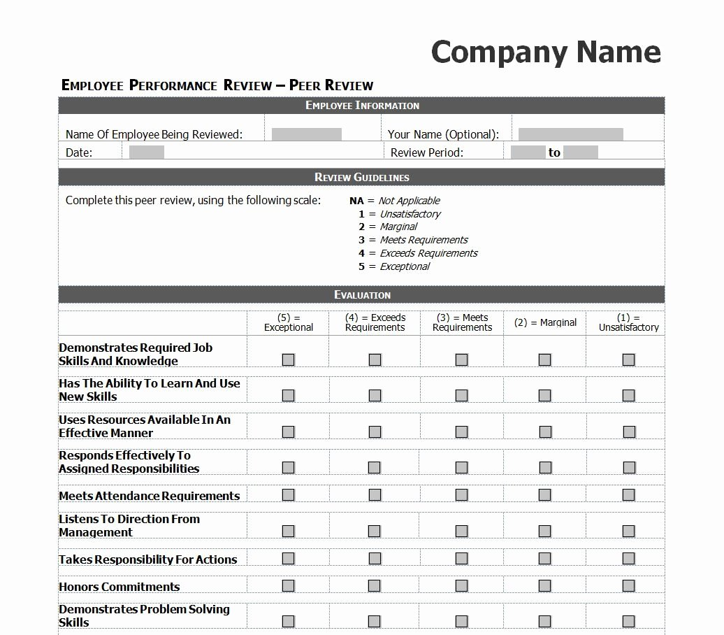 Simple Performance Review Template Inspirational Employee Evaluation Template Excel Images