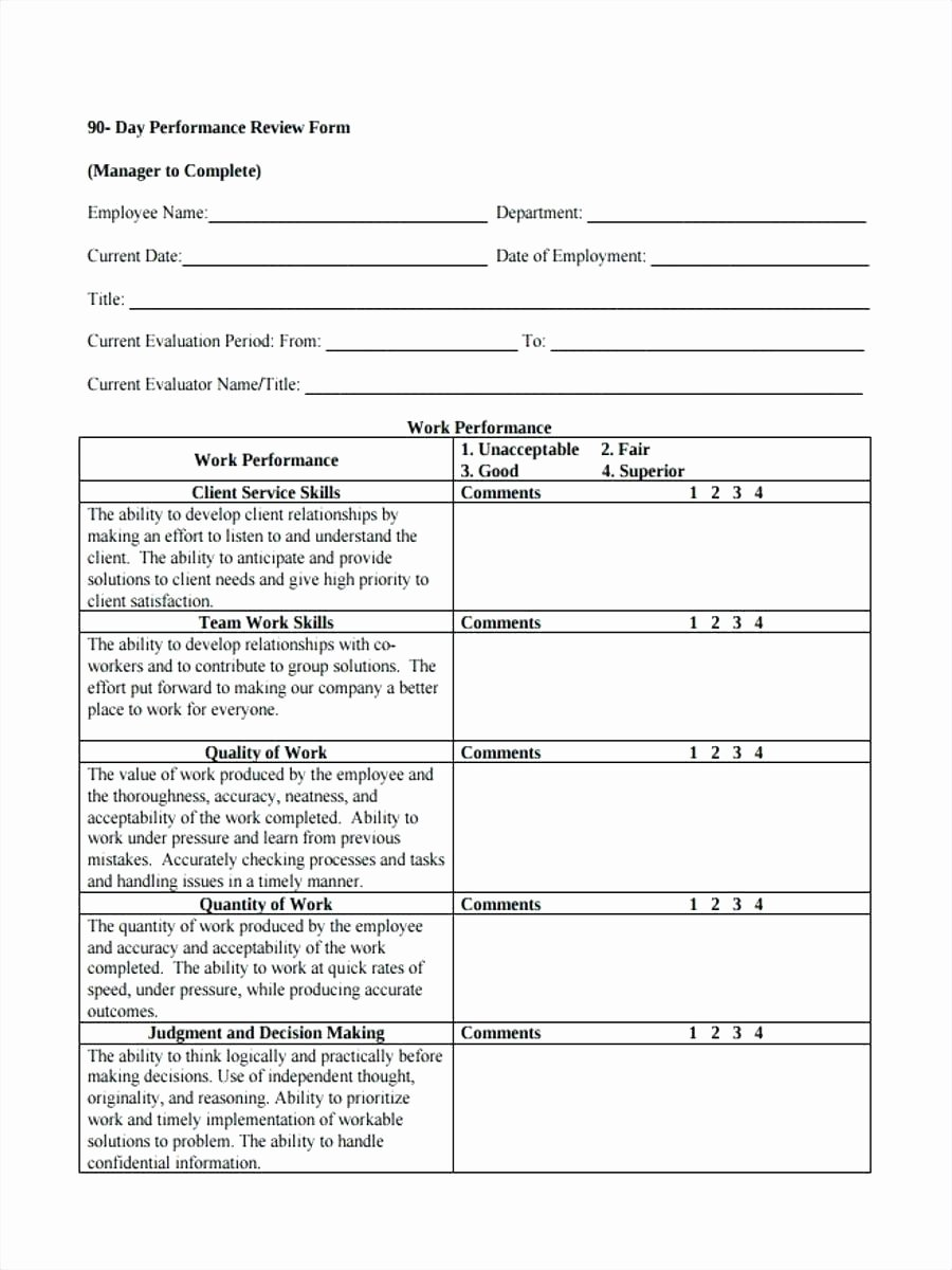 Simple Performance Review Template New Performance Evaluation Template Word