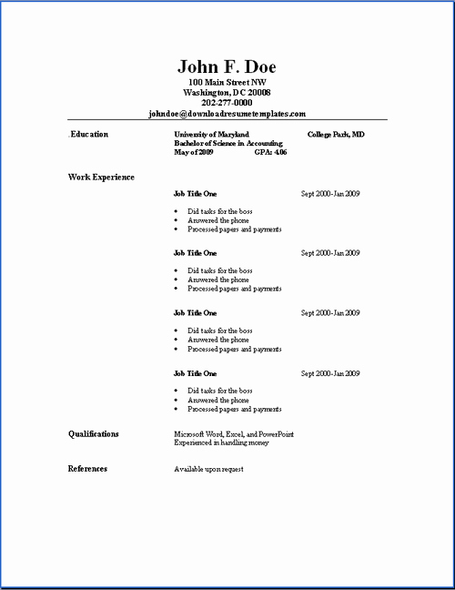 Simple Professional Resume Template Awesome Basic Resume Templates