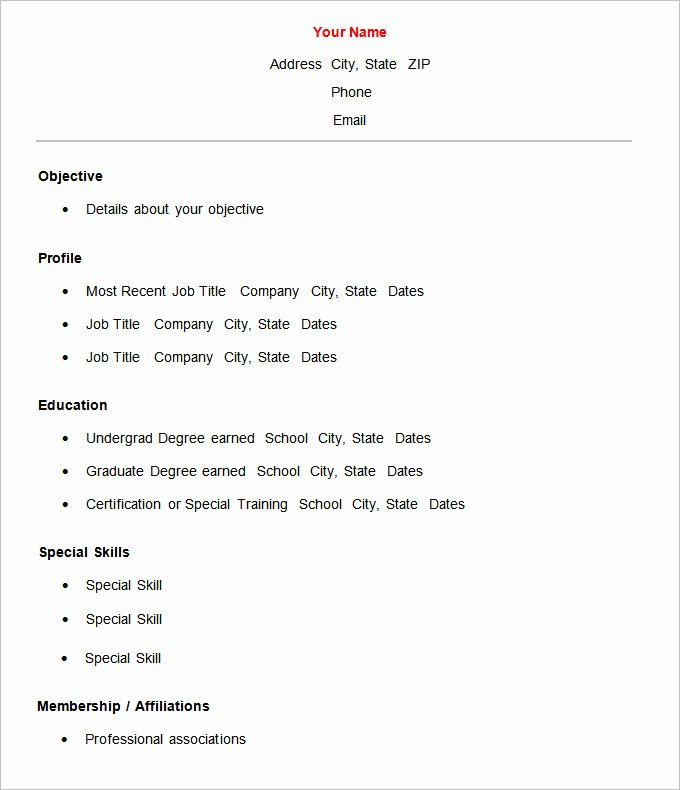 Simple Professional Resume Template Beautiful 70 Basic Resume Templates Pdf Doc Psd