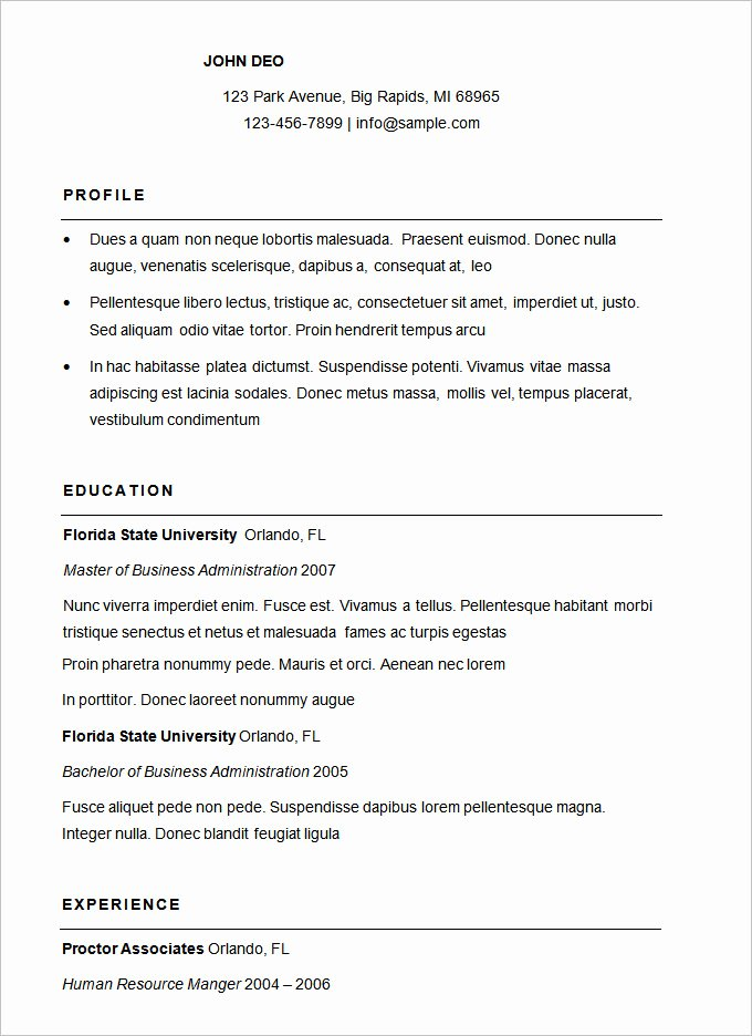 Simple Professional Resume Template Best Of 70 Basic Resume Templates Pdf Doc Psd