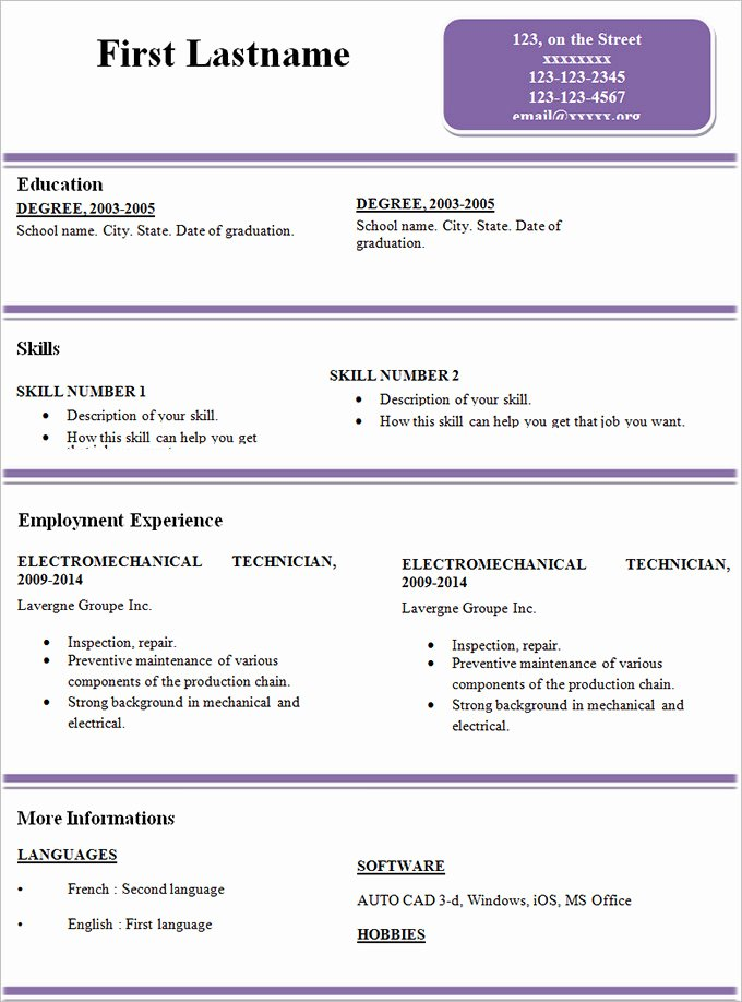 Simple Professional Resume Template Best Of Simple Resume Template 46 Free Samples Examples