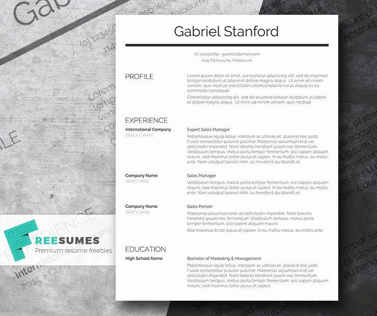 Simple Professional Resume Template Fresh Professional Resume Template Freebie Sleek and Simple