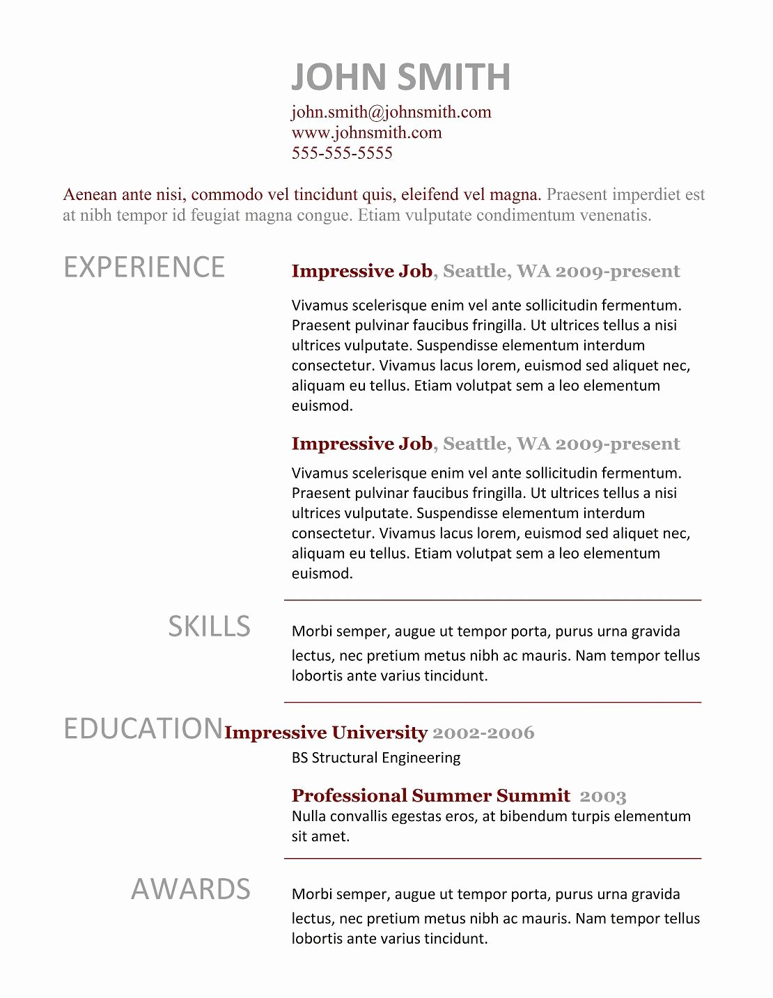 Simple Professional Resume Template Inspirational 7 Simple Resume Templates Free