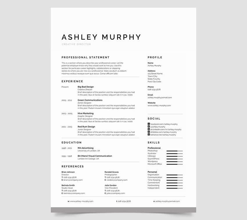 Simple Professional Resume Template Luxury 20 Professional Ms Word Resume Templates with Simple Designs