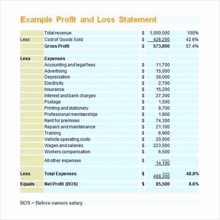Simple Profit and Loss Template Best Of 6 Simple Profit and Loss Statement Template for Self