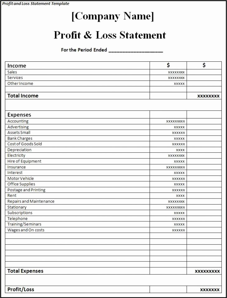 Simple Profit and Loss Template Best Of Profit and Loss Statement Template Excel