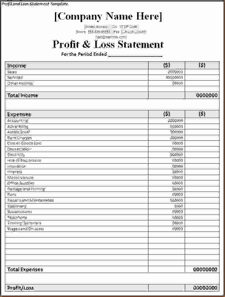 Simple Profit and Loss Template Lovely 7 Simple Profit and Loss Template