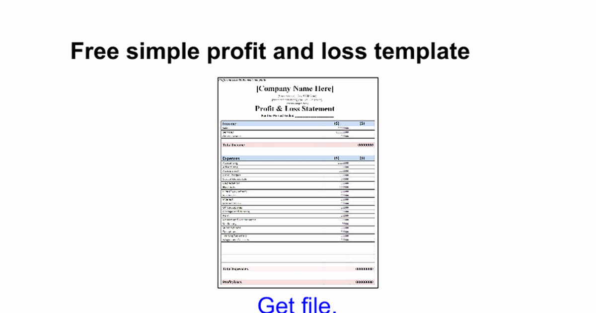 Simple Profit and Loss Template Lovely Free Simple Profit and Loss Template Google Docs
