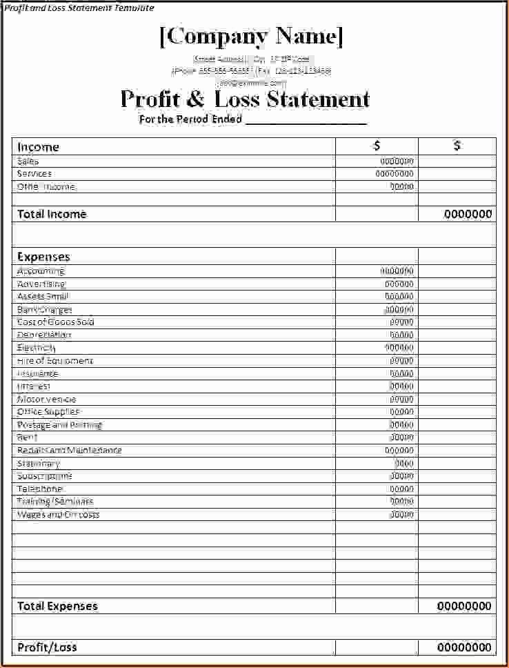 Simple Profit and Loss Template Unique 7 Simple Profit and Loss Template