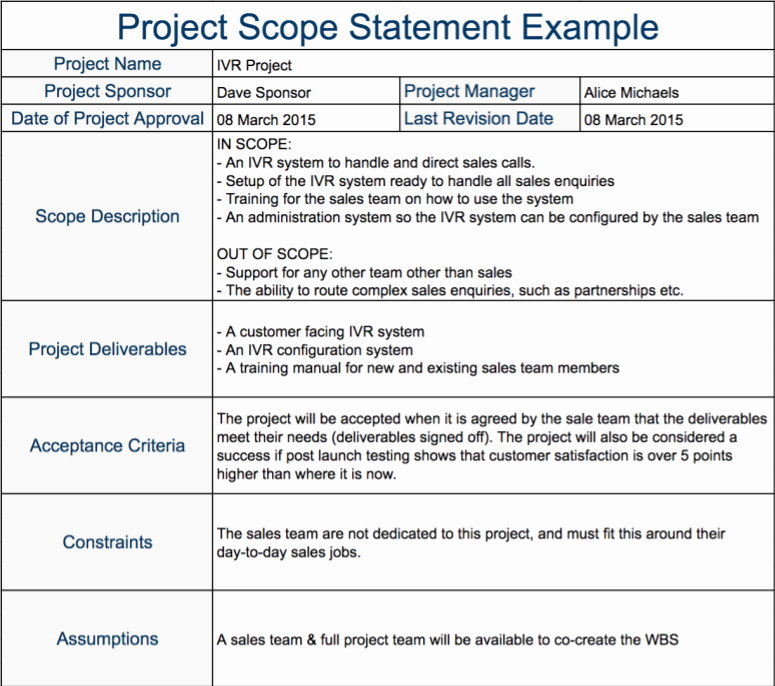 Simple Project Scope Template Awesome Project Scope Document