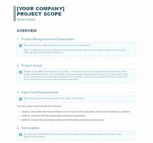 Simple Project Scope Template Elegant Simple Project Scope Template Perfect Plete with