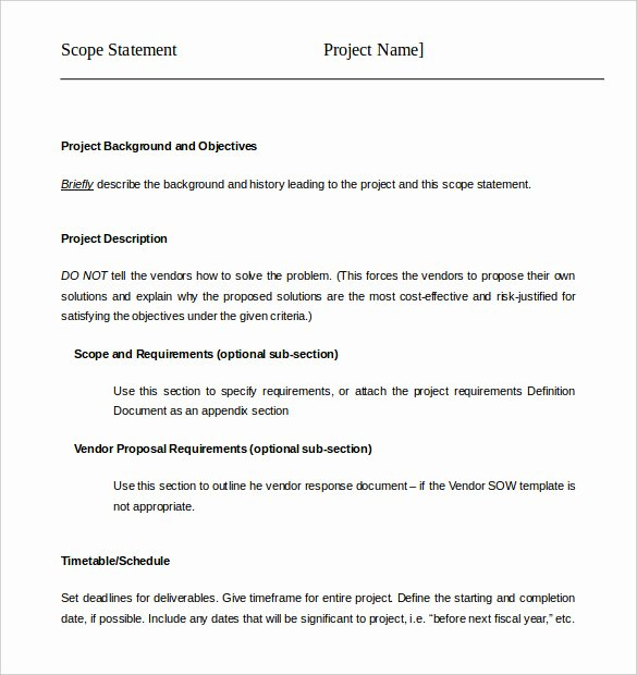 Simple Project Scope Template Fresh Project Scope Example Pdf