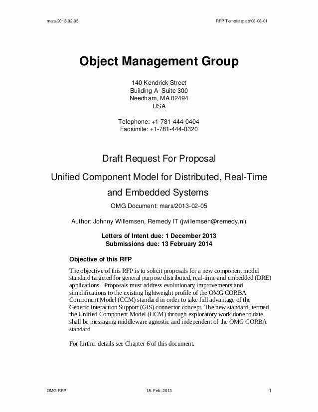Simple Request for Proposal Template Luxury Draft Request for Proposal Unified Ponent Model for