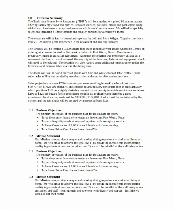 Simple Restaurant Business Plan Template Beautiful Restaurant Business Plan 12 Free Pdf Word Documents