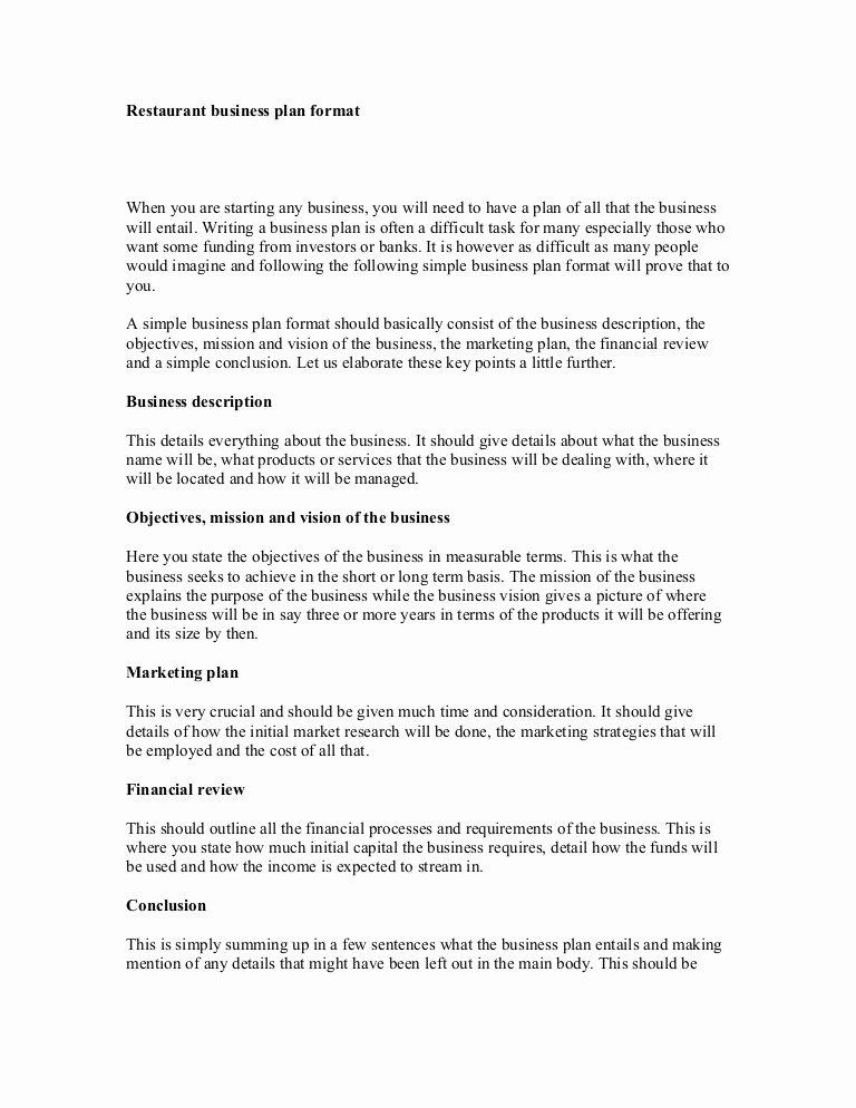Simple Restaurant Business Plan Template Best Of Restaurant Business Plan format