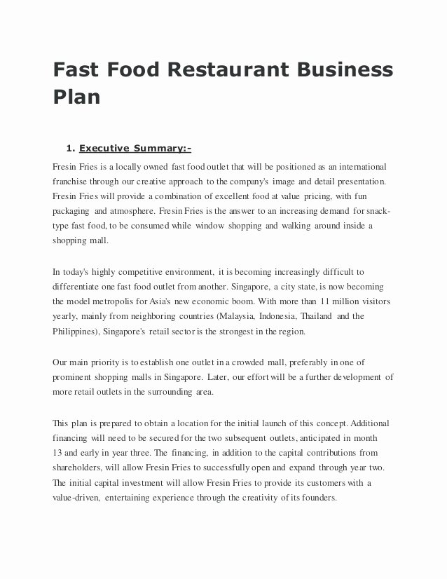 Simple Restaurant Business Plan Template Elegant Fast Food Restaurant Business Plan