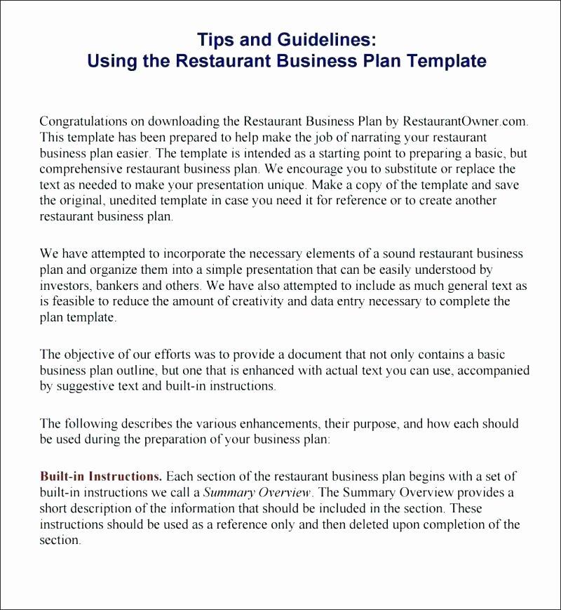 Simple Restaurant Business Plan Template Fresh Basic Business Plan Template Pdf – Property Development