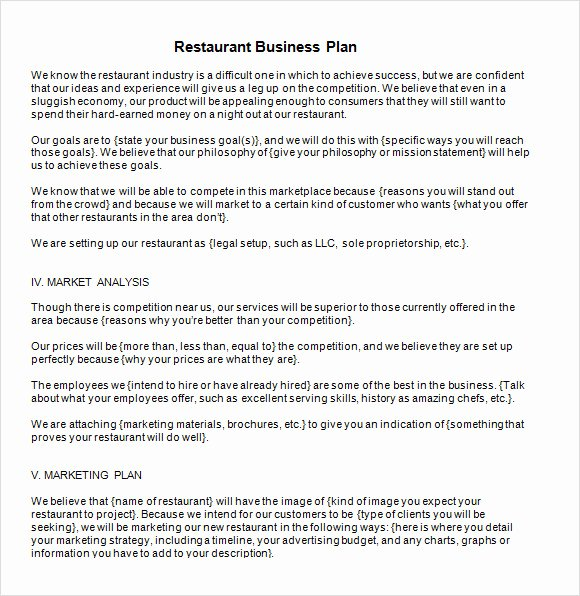 Simple Restaurant Business Plan Template Luxury 13 Sample Restaurant Business Plan Templates to Download