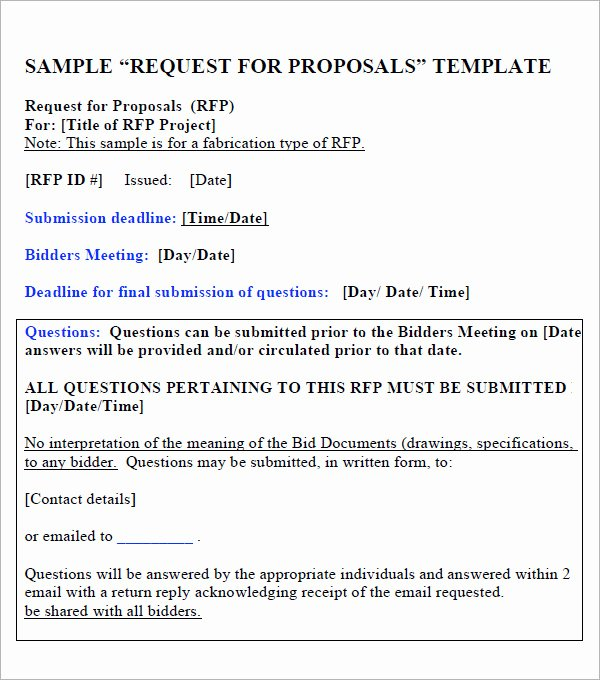 Simple Rfp Template Word Inspirational 15 Sample Free Request for Proposal Templates