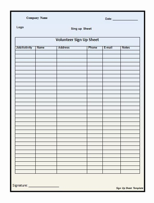 Simple Sign Up Sheet Template Beautiful Easy to Use Excel Spreadsheet Template for Sign Up Sheet