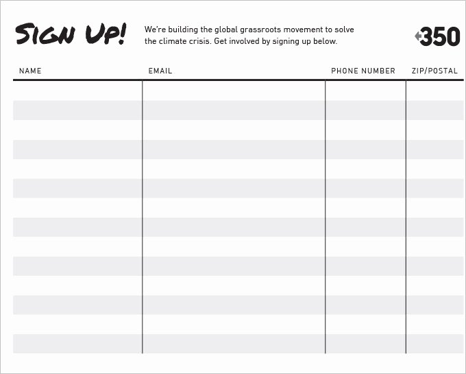 Simple Sign Up Sheet Template Beautiful Free Signup Sheet Template