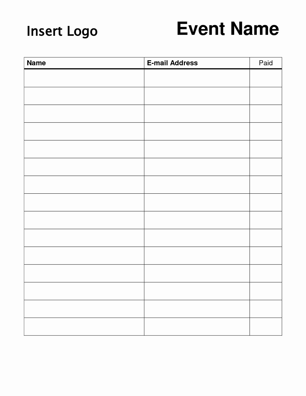 Simple Sign Up Sheet Template Elegant Free Printable Sign Up Sheet Printable