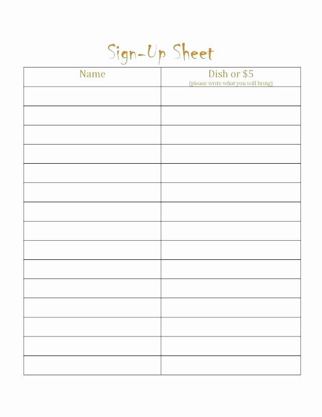Simple Sign Up Sheet Template Elegant Potluck Sign Up Sheet – Grnwav