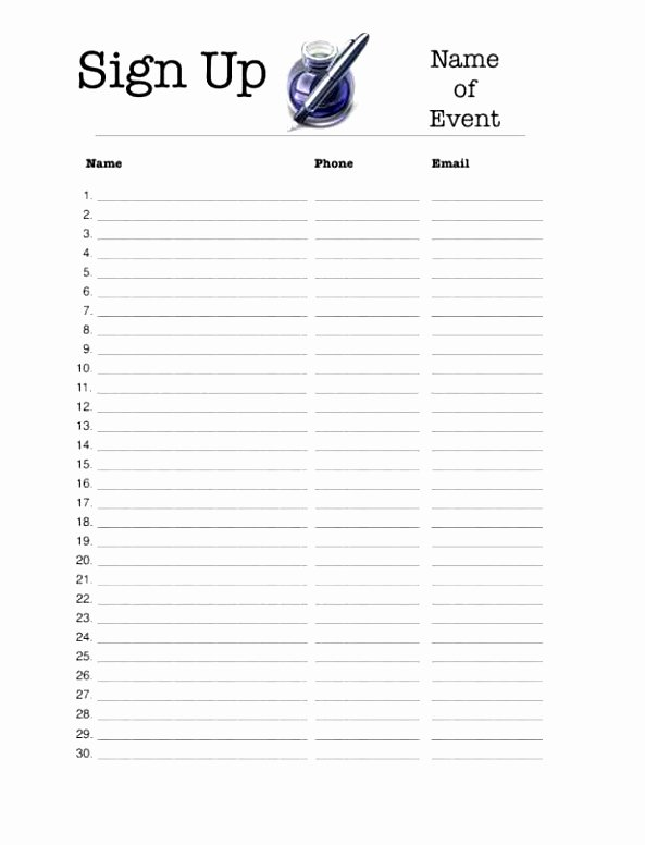 Simple Sign Up Sheet Template Fresh 10 Simple Sign Up Sheet Template Ueura