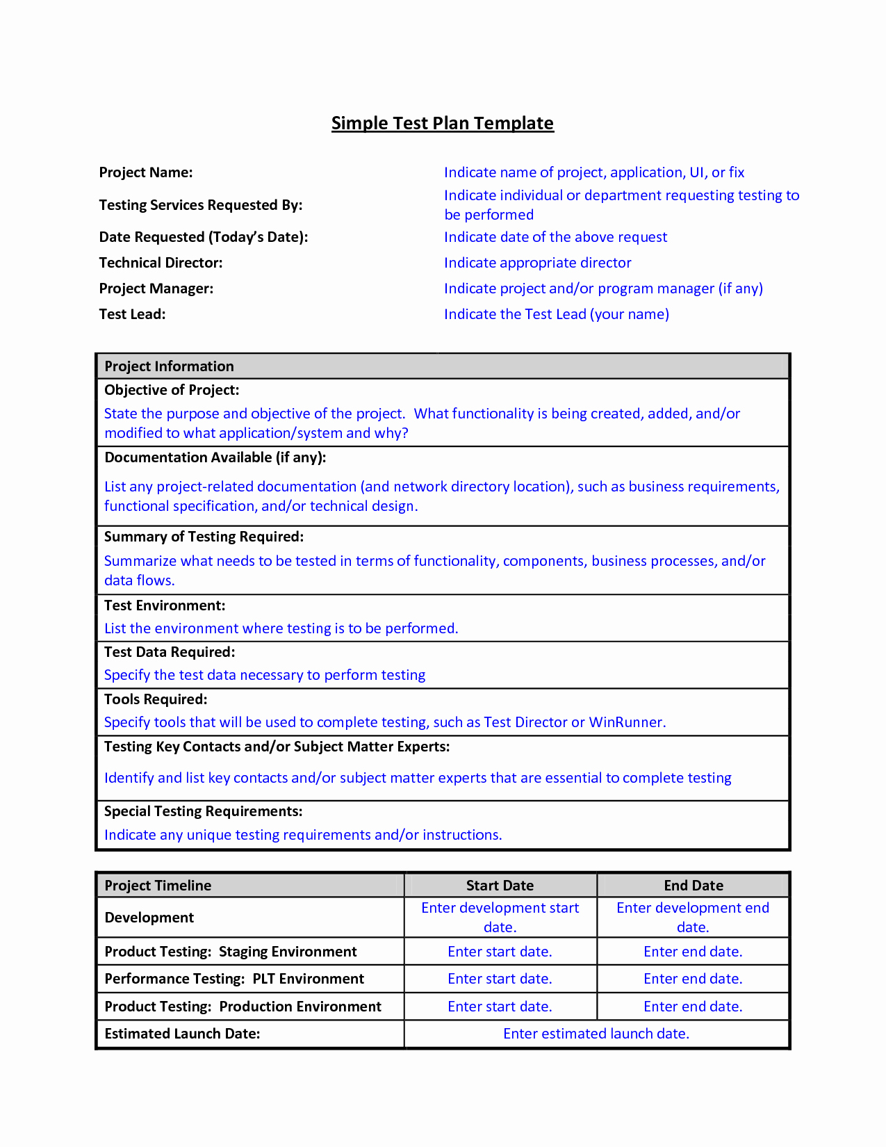 Simple Test Plan Template Awesome Test Plan Template format Sample Work Word Simple