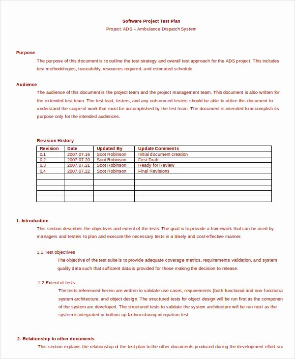 Simple Test Plan Template Elegant Test Plan Template 11 Free Word Pdf Documents Download