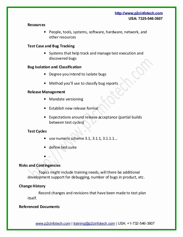Simple Test Plan Template Lovely Simple software Test Plan Template