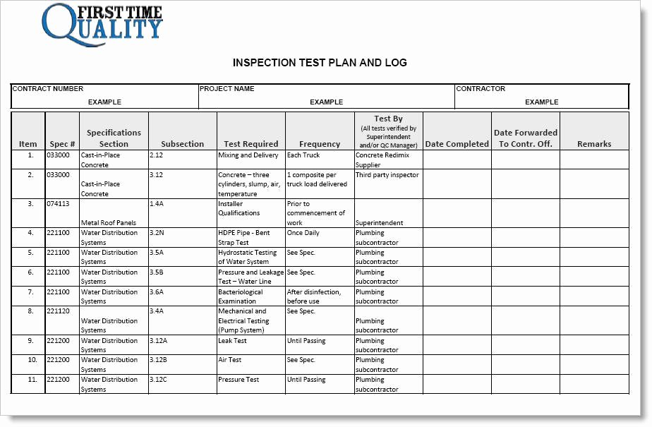 Simple Test Plan Template Unique Inspection Test Plan form Pleted Example