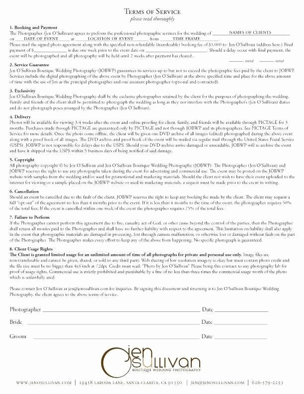 8 9 wedding photographer contract template