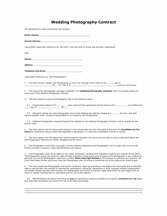 Simple Wedding Photography Contract Template Beautiful Wedding Graphy Contract In Word and Pdf formats
