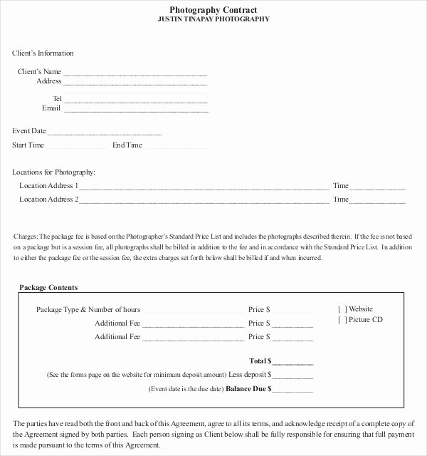 Simple Wedding Photography Contract Template Best Of 18 Graphy Contract Templates – Pdf Doc