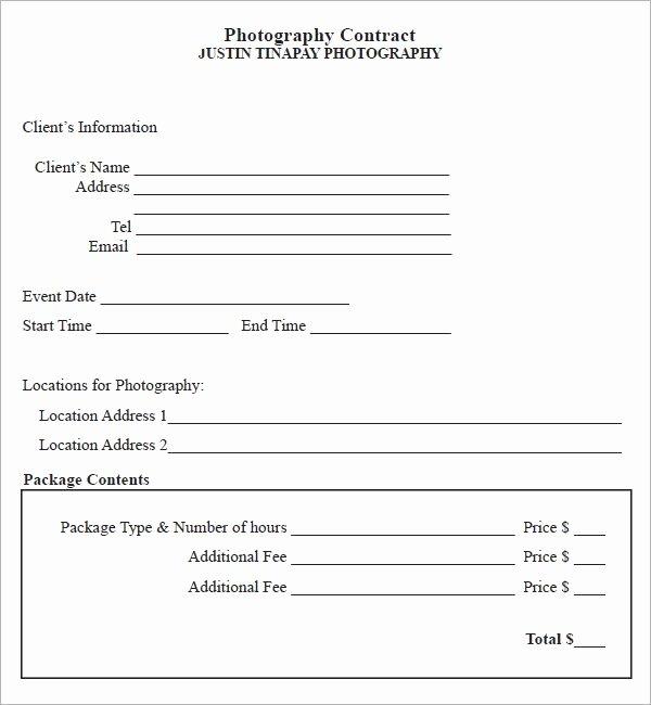 Simple Wedding Photography Contract Template Best Of Graphy Contract 7 Free Pdf Download