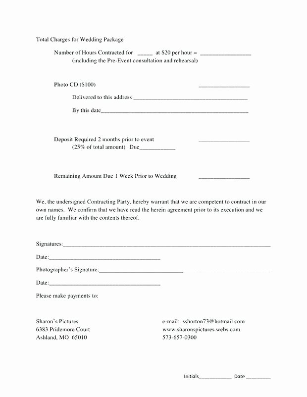 Simple Wedding Photography Contract Template Elegant Portrait Contract Template Short form General Graphy