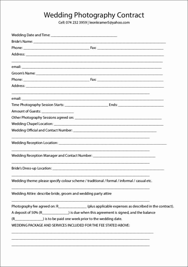 Simple Wedding Photography Contract Template Fresh 19 Graphy Contract Templates